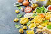 Italian Food And Ingredients, Ravioli Pasta Tortellini Pesto Tomato Sauce poster