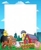 Country frame with red barn 1 - vector illustration.