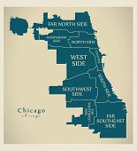 Modern City Map - Chicago City Of The Usa With Boroughs And Titles poster