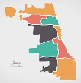 Chicago Map With Boroughs And Modern Round Shapes poster