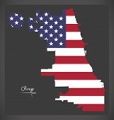 Chicago Map With American National Flag Illustration poster