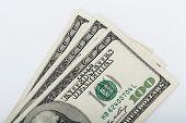 Macro Shot Of A 100 Dollar. Dollars Closeup Concept. American Dollars Cash Money. One Hundred Dollar poster