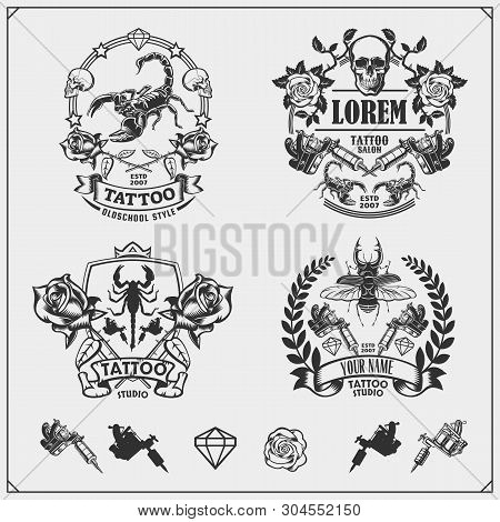 poster of Vector Set Of Tattoo Salon Labels, Badges And Design Elements. Tattoo Studio Emblems With Profession