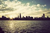 Winter Sun Setting Over The Skyline Of Chicago