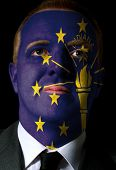 Us State Of Indiana Flag Painted Face Of Businessman Or Politician