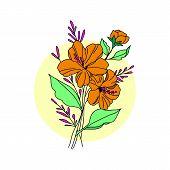 Golden Flower Illustration. Golden Flower, Contour Flower, Bloom Flower, Decorative Flower, Isolate  poster