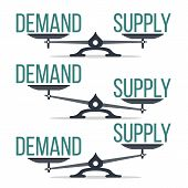Demand And Supply Balance On Scale Set Vector. Imbalance Between Demand And Offer Economic Compariso poster