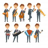 Musicians Boys Playing Different Musical Instruments Set, Talented Children Characters Playing Balal poster