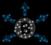 Bright Mesh Bitcoin Emission With Glow Effect. Abstract Illuminated Model Of Bitcoin Emission Icon. poster