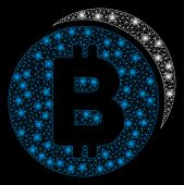 Bright Mesh Bitcoin Coins With Glow Effect. Abstract Illuminated Model Of Bitcoin Coins Icon. Shiny  poster