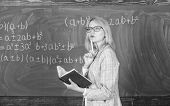Principles Can Make Teaching Effective. Woman Teaching Near Chalkboard In Classroom. Effective Teach poster
