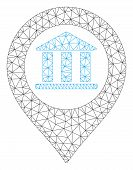 Mesh Bank Building Pointer Model Icon. Wire Carcass Polygonal Mesh Of Vector Bank Building Pointer I poster