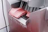 Meat Company, Industry. Raw Cuts Of Minced Meat, Introduced Into An Introductory Washing In The Meat poster