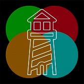 Navigation Sea Tower Icon - Vector Lighthouse - Ocean Navigation Symbol - Sea House. Thin Line Picto poster