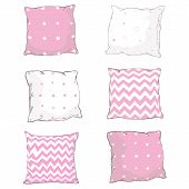 Vector Cartoon Decorative Pillows. Hand Drawn Set Of Decorative Pillows. Doodle Illustration poster