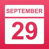 September 29. White Calendar On A  Colored Background. Day On The Calendar. Twenty-ninth Of Septembe poster