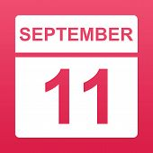 September 11. White Calendar On A  Colored Background. Day On The Calendar. Eleventh Of September. R poster