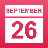 September 26. White Calendar On A  Colored Background. Day On The Calendar. Twenty Sixth Of Septembe poster