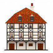 Fachwerk Haus traditionelle Hütte isoliert