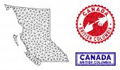 Wire Frame Polygonal British Columbia Province Map And Grunge Seal Stamps. Abstract Lines And Dots F poster