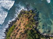 Aerial Top View Of Scenic Coconut Tree Hill In Mirissa, Sri Lanka. Coconut Tree Hill In Sri Lanka. C poster