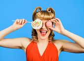 Lollipop. Sweet Food. Sweets. Dessert. Happy Woman Covering Eye By Lollipop And Macaroon. Pin Up Mod poster