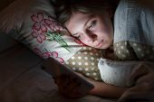 Sleepy Woman Awake Late At Night In Bed Surfing In Web, Can Not Fall Asleep/ Sleepy Tired, Social Me poster