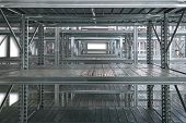 Empty warehouse racks, Empty metal shelf in storage room, storage concept poster