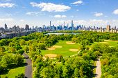 Central Park Aerial View, Manhattan, New York. Park Is Surrounded By Skyscraper. Beautiful View Of T poster