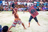 LOMBOK,INDONESIA- FEBRUARY 11: Stick fight on  February 11,2012 Lombok, Indonesia.Stick fights betwe