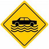 Flash Flood Zone - A Cartoon Illustration Of A Flash Flood Sign. poster