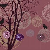 Background With Tree, Ravens And Abstract Elements