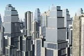 stock photo of overpopulation  - Futuristic Metropolis Aerial View 3D render  - JPG