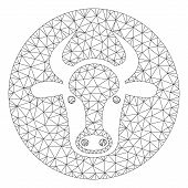 Mesh Bull Head Polygonal Icon Vector Illustration. Carcass Model Is Based On Bull Head Flat Icon. Tr poster