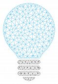Mesh Bulb Polygonal Icon Vector Illustration. Carcass Model Is Based On Bulb Flat Icon. Triangle Net poster