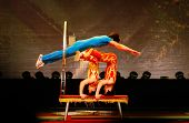 SHANGHAI, CHINA - NOVEMBER 28: A team of of gymnasts from the world famous Shanghai acrobats perform
