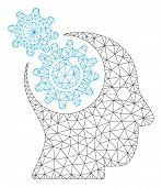 Mesh Brain Gears Rotation Polygonal Icon Vector Illustration. Model Is Based On Brain Gears Rotation poster