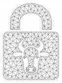 Mesh Bull Lock Polygonal Icon Vector Illustration. Carcass Model Is Based On Bull Lock Flat Icon. Tr poster