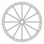 Mesh Coach Wheel Polygonal Icon Vector Illustration. Carcass Model Is Created From Coach Wheel Flat  poster