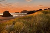 foto of haystacks  - Oregon Coast and lighthouses. The Oregon coast is know as one of the most beautiful and interesting places in the world.