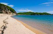 Summer. Sea coast. Rocky and sandy coast.