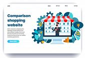 Web Page Flat Design Template For Comparison Shopping With The Seller. Business Landing Page Online  poster