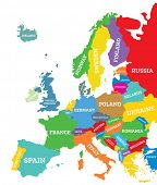 Political map of Europe Continent Isolated on White. Country Name Labels. poster