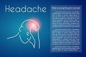 Headache Linear Medical Poster With Text. Vector Abstract Minimal Illustration Of Young Man With Pin poster
