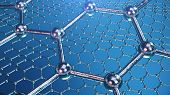 3d Illustration Structure Of The Graphene Or Carbon Surface, Abstract Nanotechnology Hexagonal Geome poster