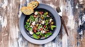 Mediterranean Salad With Fresh Green Salad With Mozzarella, Tomatoes, Olives, Onion And Balsamic Dre poster
