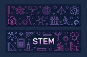 Stem Vector Concept Two Colorful Banners In Outline Style On Dark Background poster