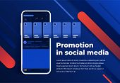 News Feed In A Social Network In The Form Of A Grid. Promotion In Social Media. Smartphone With Soci poster