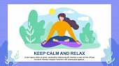 Cartoon Woman Character In Lotus Position. Keep Calm And Relax Vector Illustration. Female Person Me poster