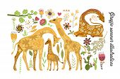 Cartoon Giraffe Vector Flat Illustration In Scandinavian Style. Cartoon Giraffe Vector Flat Illustra poster
